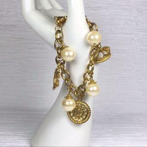 Jewelry - Gold Tone Faux Pearl Charm Bracelet